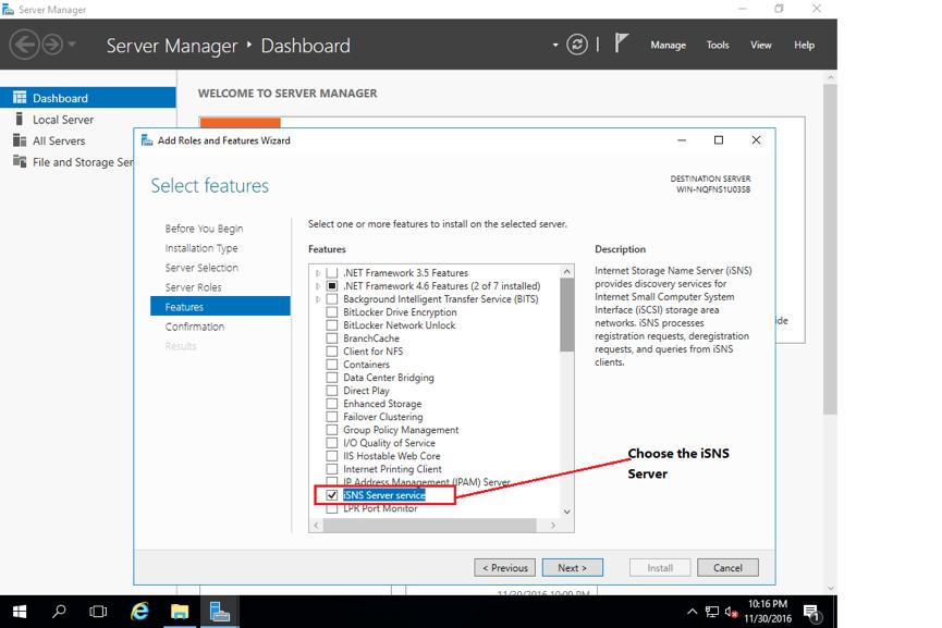 Figure 1. Install iSNS Server service